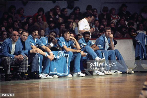 The Buffalo Braves sit on the bench against the Boston Celtics during a game played in 1974 at the Boston Garden in Boston Massachusetts NOTE TO USER...