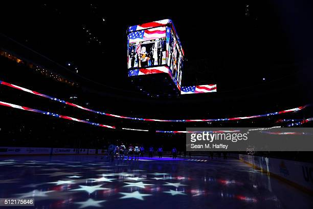 The Buffalo Sabres and Anaheim Ducks stand during the national anthem prior to a game at Honda Center on February 24 2016 in Anaheim California