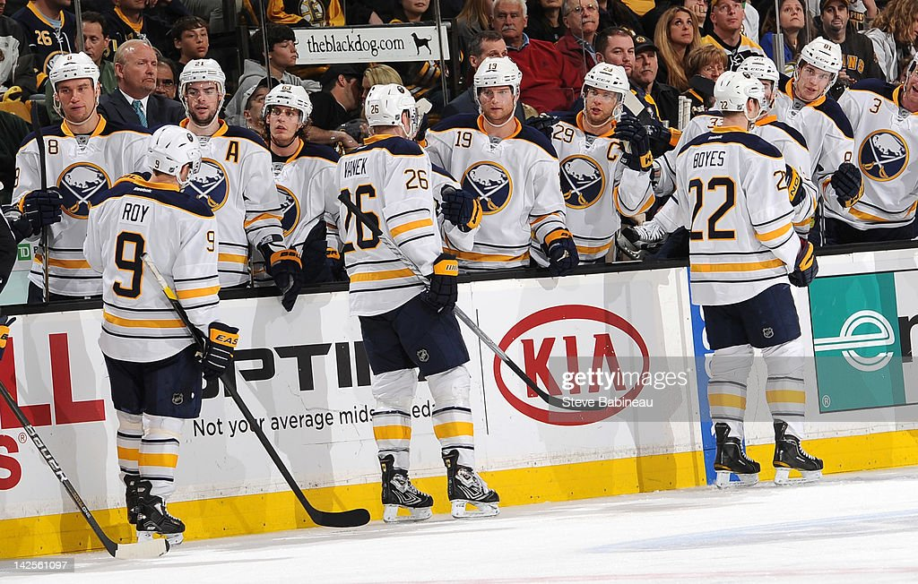 The Buffalo Sabres celebrate a goal against the Boston Bruins at the TD Garden on April 7, 2012 in Boston, Massachusetts.