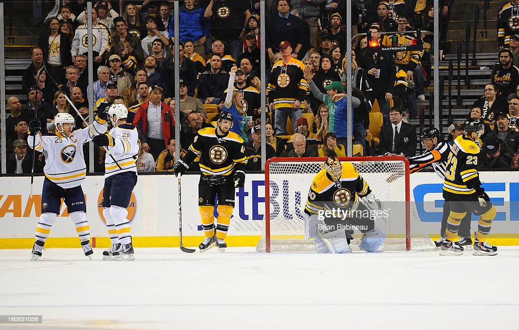 The Buffalo Sabres celebrate a goal against the Boston Bruins at the TD Garden on January 31, 2013 in Boston, Massachusetts.