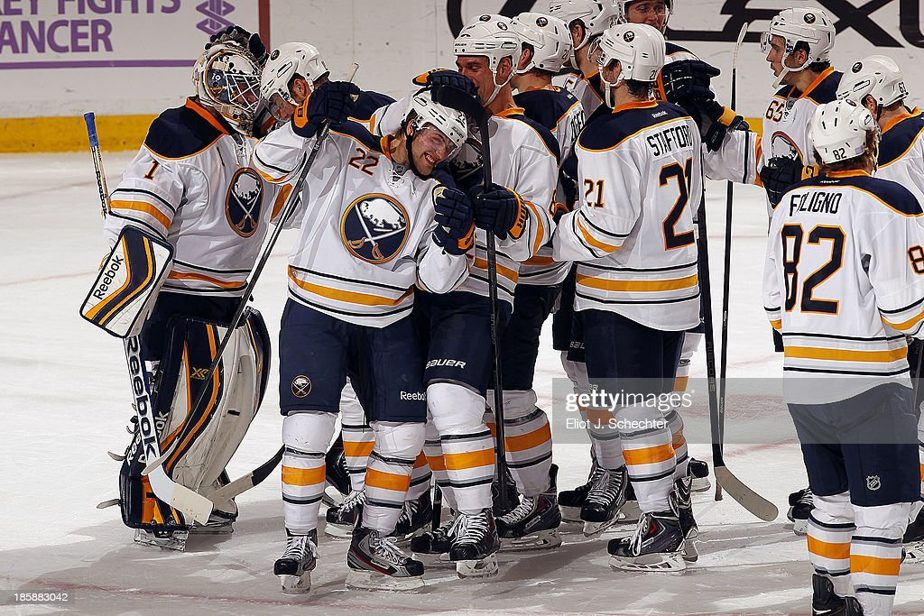 The Buffalo Sabres celebrate their 3-1 win over the Florida Panthers at the BB&T Center on October 25, 2013 in Sunrise, Florida.