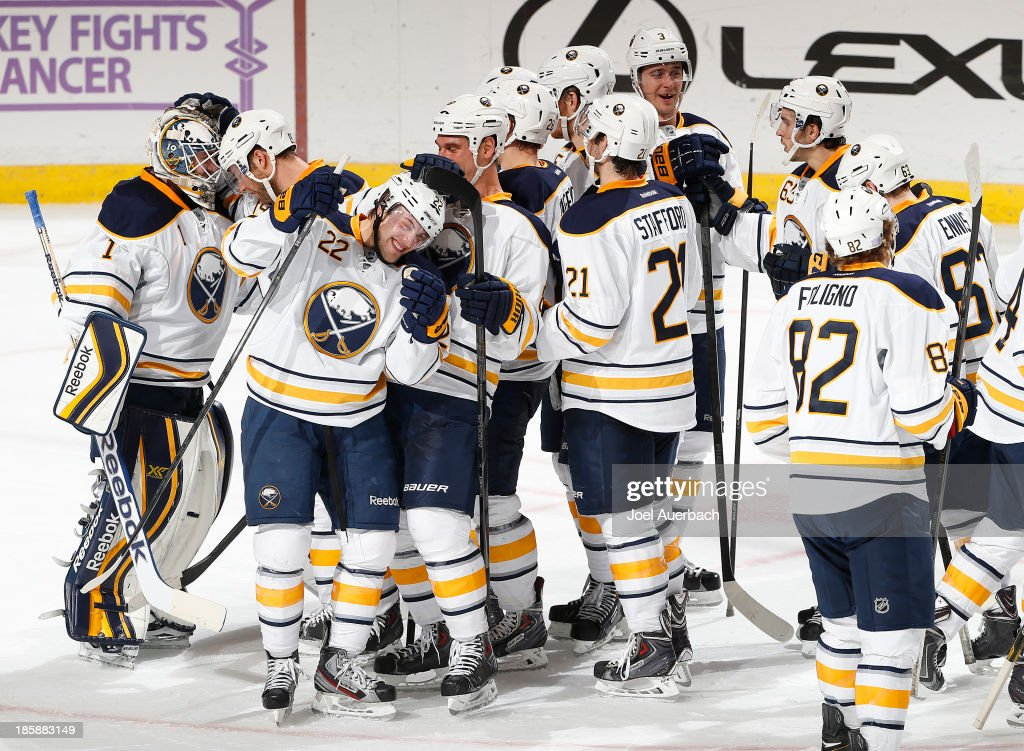 The Buffalo Sabres celebrate their victory over the Florida Panthers at the BB&T Center on October 25, 2013 in Sunrise, Florida. The Sabres defeated the Panthers 3-1.