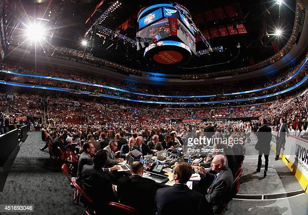 The Buffalo Sabres table and the draft floor are seen during the 2014 NHL Entry Draft at Wells Fargo Center on June 27 2014 in Philadelphia...