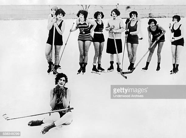 The 'Buffalo Snow Birds' play hockey in the winter time in their bathing suits to keep healthy and fit Buffalo New York circa 1928