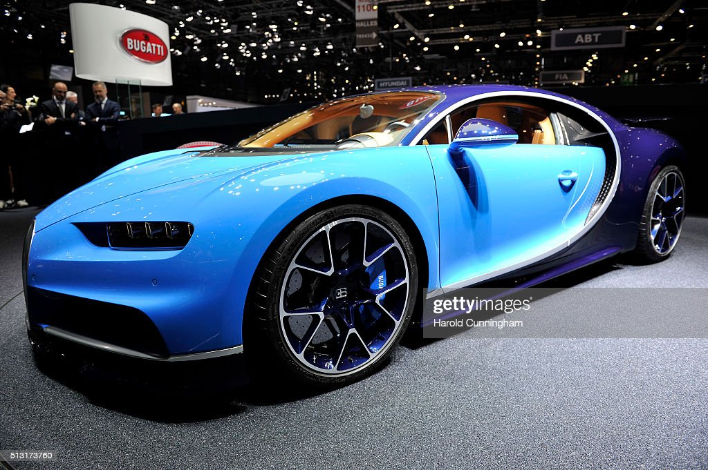 The Bugatti Chiron is presented during the Bugatti press conference as part of the Geneva Motor Show 2016 on March 1 2016 in Geneva Switzerland