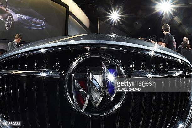 The Buick logo is pictured as General Motors reveals the new Buick Avenir Concept vehicle to the media on the eve of The North American International...