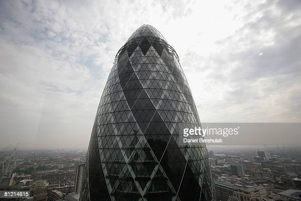 The building 30 St Mary's Axe nicknamed The Gherkin is seen on May 23 2008 in London England The building is 180 metres tall making it the...