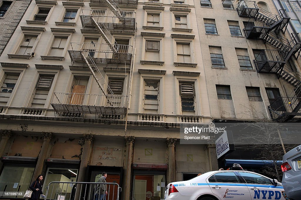 The building on Park Place in lower Manhattan where a piece of landing gear believed to be from one of the planes destroyed in the September 11 attacks has been discovered on April 26, 2013 in New York City. The landing gear was discovered wedged between a mosque site and a building blocks from the World Trade Center site.