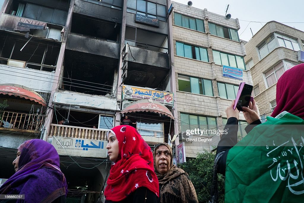 The building that used to house the Al-Aqsa channel was hit by the Israeli air force during Operation Pillar of Defense, in Gaza City Gaza on November 22, 2012.