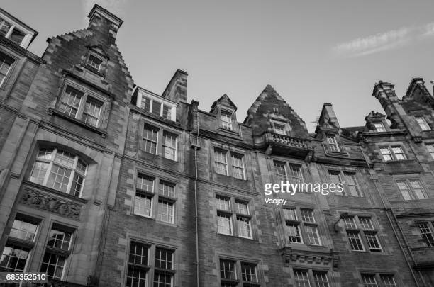 The buildings in old town black and white, Edinburgh