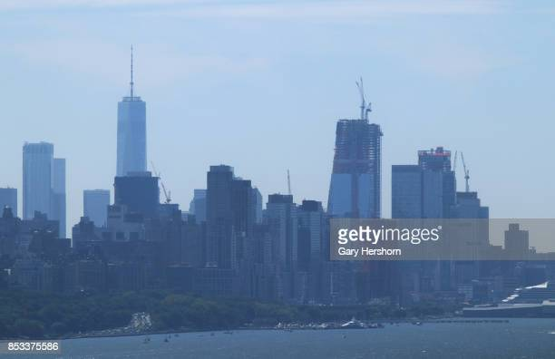 The buildings of HudsonYards rise next to the Hudson River as seen from the George Washington Bridge on September 23 2017 in New York City