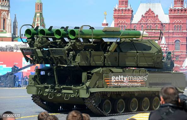 The BUKM2 mediumrange battlefield surfacetoair missile system marches on during the military parade to mark the 70th anniversary of Victory in the...