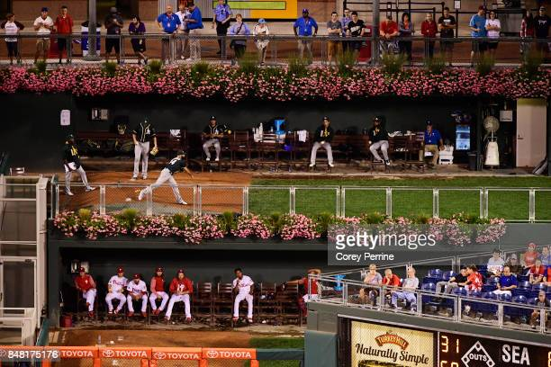 The bull pens of the the Oakland Athletics and the Philadelphia Phillies look on during the ninth inning at Citizens Bank Park on September 16 2017...