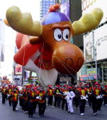 The Bullwinkle the Moose balloon moves through Times Square in New York 23 November 2000 during the 74th Macy's Thanksgiving Day Parade Fourteen...