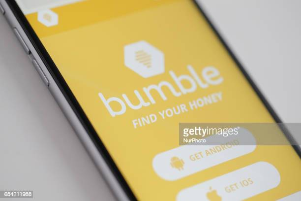 The Bumble app is seen on an iPhone on 16 March 2017 The app is resembles Tindr in that it let's heterosexuals find each other however Bumble only...