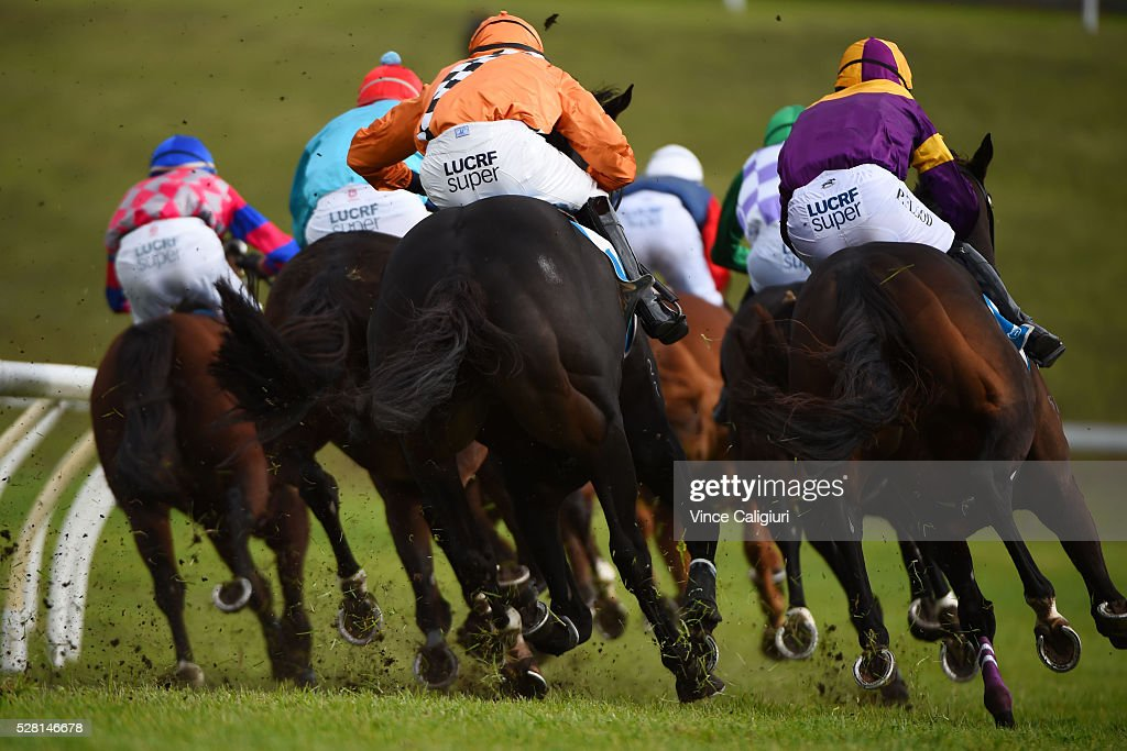 The bunched up field turn into the home straight in Race 6, the Galleywood Hurdle during Brierly Day at Warrnambool Race Club on May 4, 2016 in Warrnambool, Australia.