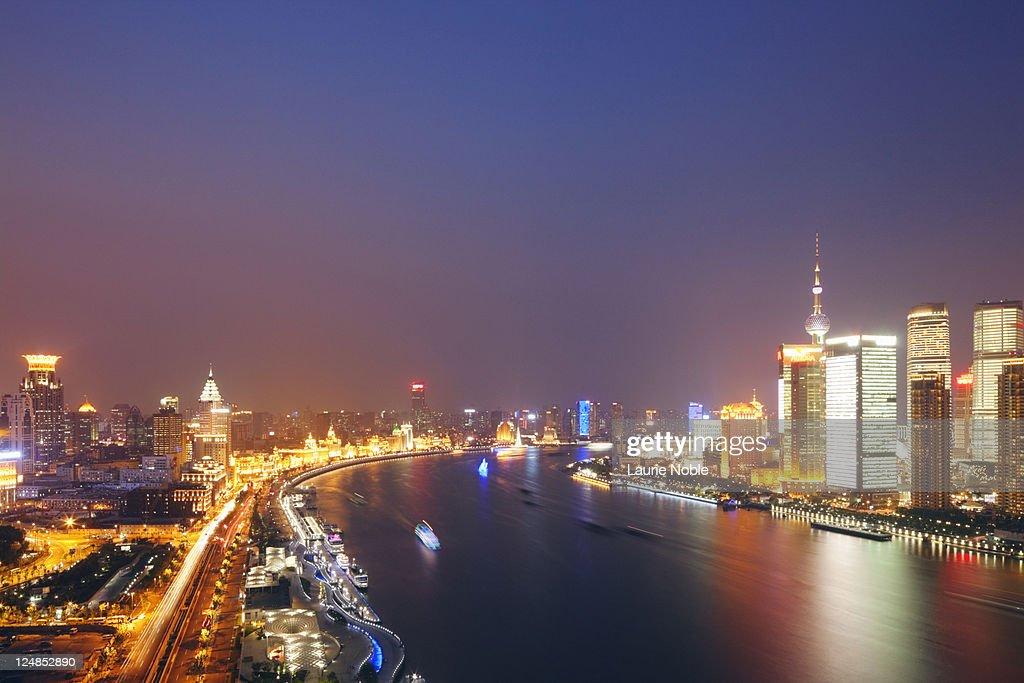 The Bund and Pudong at dusk, Shanghai, China : Stock Photo