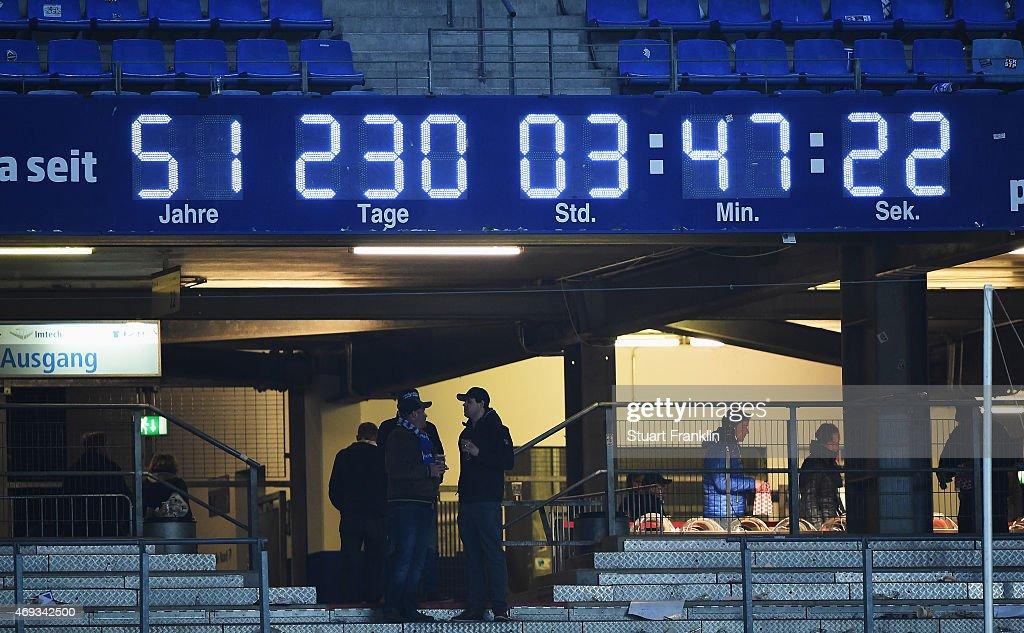 The Bundesliga clock ticks on at the end of the Bundesliga match between Hamburger SV and VfL Wolfsburg at Imtech Arena on April 11, 2015 in Hamburg, Germany.