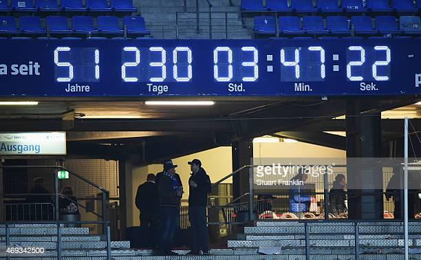 The Bundesliga clock ticks on at the end of the Bundesliga match between Hamburger SV and VfL Wolfsburg at Imtech Arena on April 11 2015 in Hamburg...