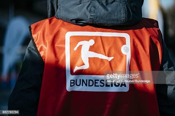 The bundesliga signage / logo is seen during the Bundesliga match between SV Darmstadt 98 and Borussia Moenchengladbach at Stadion am Boellenfalltor...