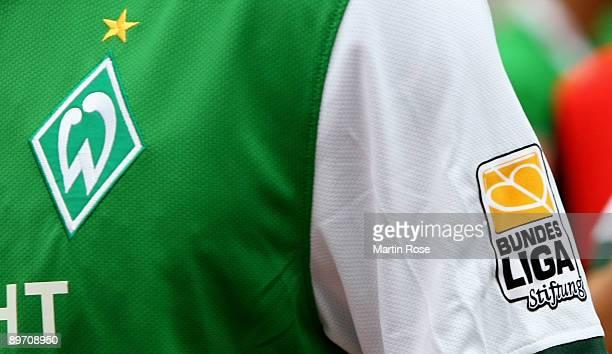The Bundesliga Stiftung logo seen on the shirt of Boubacar Sanogo of Bremen during the Bundesliga match between Werder Bremen and Eintracht Frankfurt...