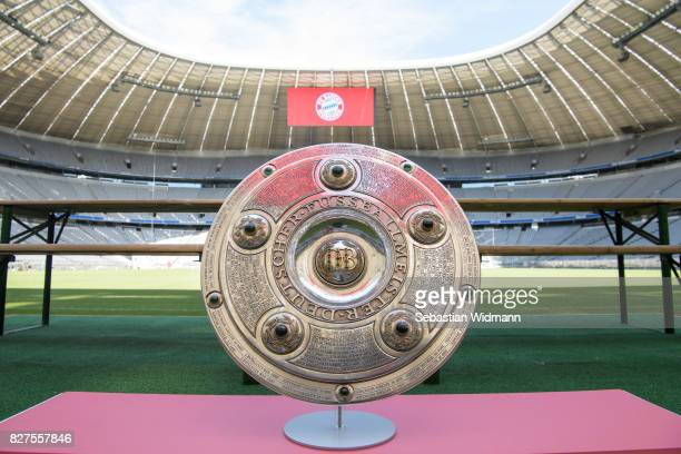 The Bundesliga trophy sits on a podium during the team presentation at Allianz Arena of FC Bayern Muenchen on August 8 2017 in Munich Germany