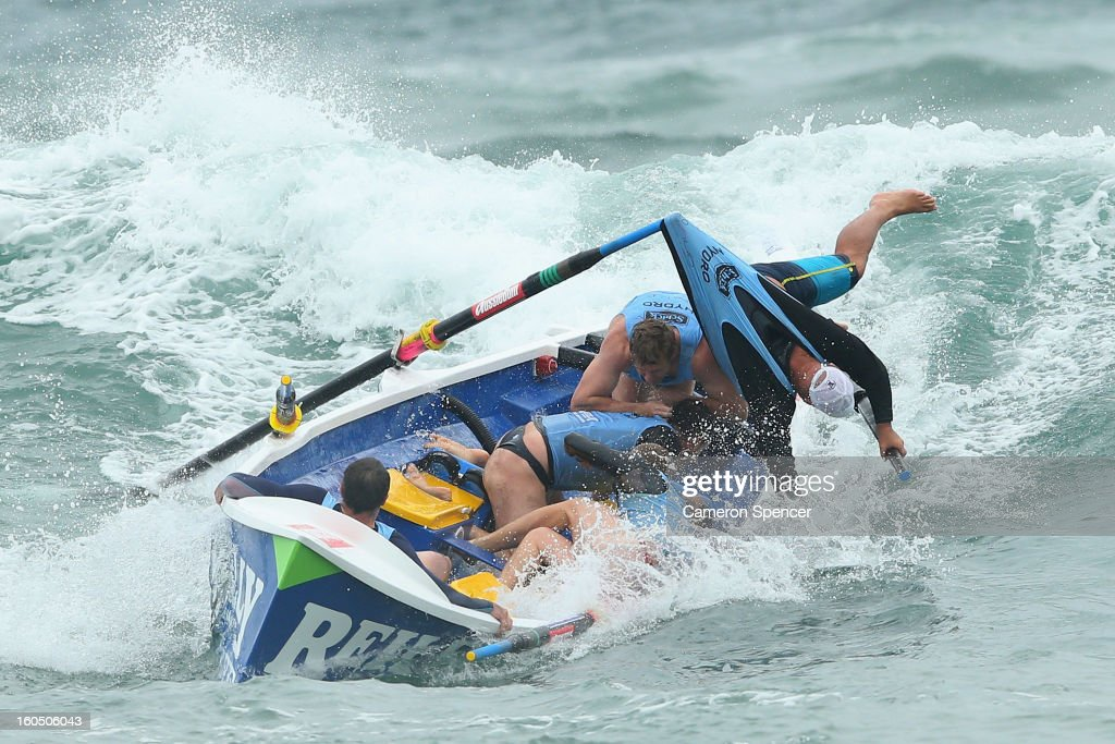 The Bungan suf life saving crew lose control of their boat during the Ocean Thunder Surf Boat Series at Dee Why Beach on February 2, 2013 in Sydney, Australia.
