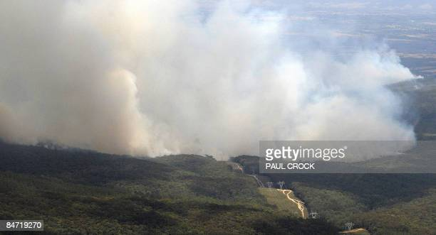 The Bunyip Ridge fire contines to burn threatening one of the main electricity transmission lines into Melbourne from the in LaTrobe Valley near...