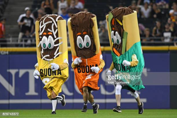 The Buona Beef mascots race during a game between the Houston Astros and the Chicago White Sox on August 9 at Guaranteed Rate Field in Chicago IL...