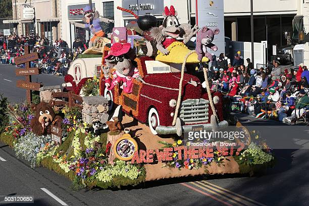 The Burbank Tournament of Roses Association float winner of the Theme Award on the parade route during the 127th Tournament of Roses Parade Presented...