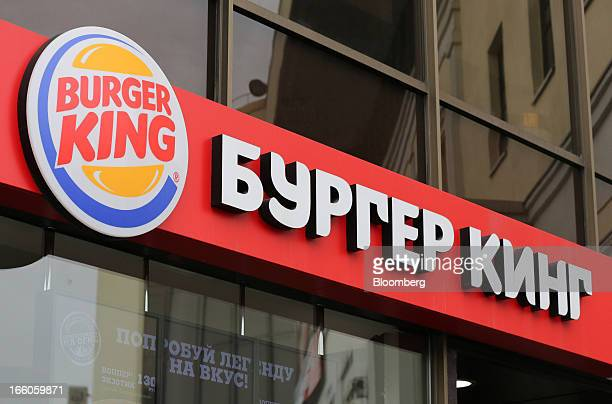 The Burger King name appears in Russian outside a Burger King fast food restaurant in Moscow Russia on Friday April 5 2013 McDonald's which virtually...