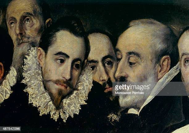 The Burial of the Count of Orgaz by El Greco 16th Century oil on canvas 480 x 360 cm Spain Toledo Church of Santo Tom Detail Closeup of noblemen...