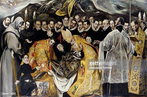 The Burial of the Count of Orgaz by El Greco 16th Century oil on canvas 480 x 360 cm Spain Toledo Church of Santo Tomé Detail From the left a...