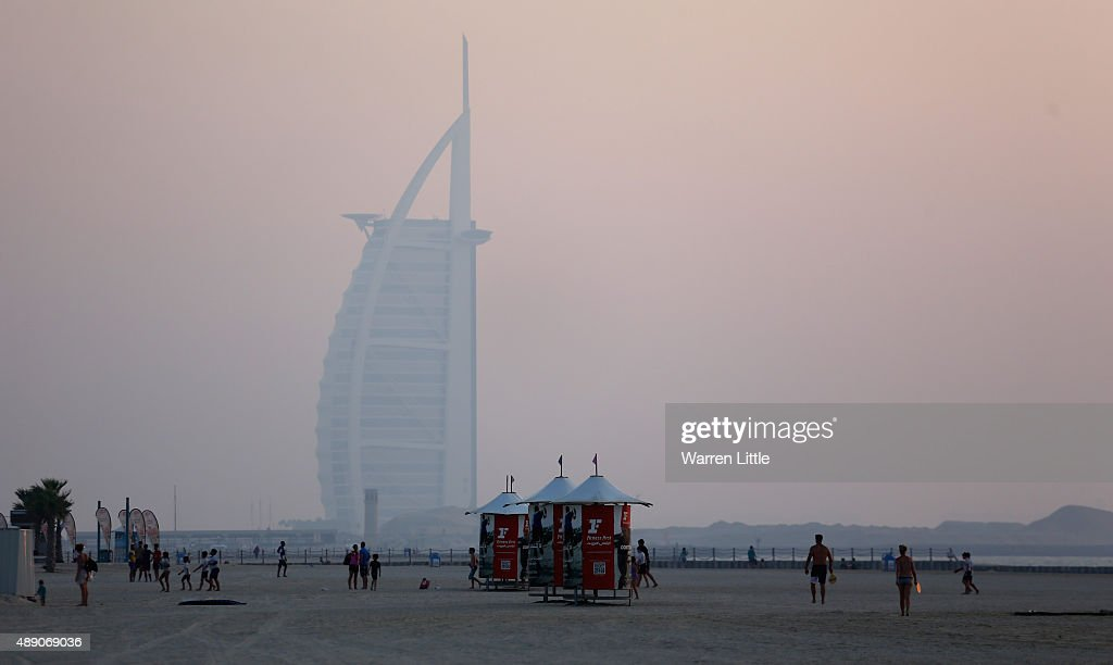 The Burj Al Arab Hotel is seen from the recently refurbished Kite Beach is pictured on September 15, 2015 in Dubai, United Arab Emirates. The Beach is very popular with Dubai locals, with a variety of watersports and refreshments on offer.