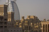 The Burj Al Arab Hotel stands apart from the Jumeirah Madinat Beach Resort in this 2008 Dubai United Arab Emirates