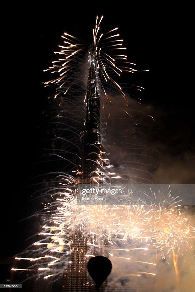 The Burj Dubai tower is pictured during the opening ceremony of the Burj Dubai tower on January 4, 2010 in Dubai, United Arab Emirates.The Burj Dubai, which in Arabic means Dubai Tower, is at 824.55 meters the world's tallest man-made structure.
