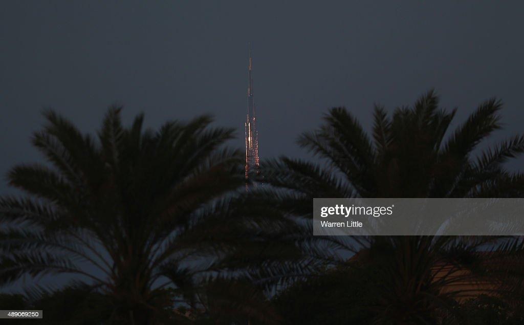 The Burj Khalifa is pictured from the recently refurbished Kite Beach is pictured on September 14, 2015 in Dubai, United Arab Emirates. The Beach is very popular with Dubai locals, with a variety of water sports and refreshments on offer.