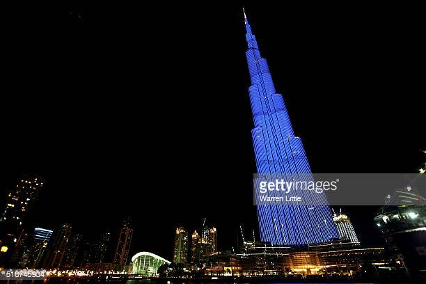 The Burj Khalifa joins other world landmarks as they Light It Up Blue for World Autism Awareness Day 2016 on April 2 2016 in Dubai United Arab...