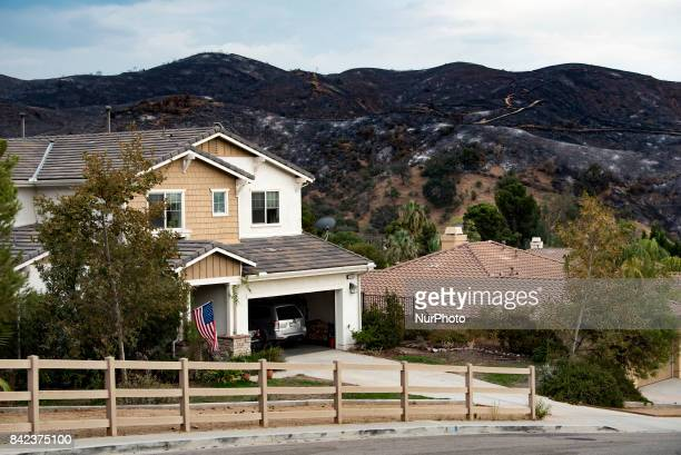 The burned terrain behind houses that were spared by the La Tuna fire in Los Angeles California On September 3 2017 Over 1000 firefighters battled...