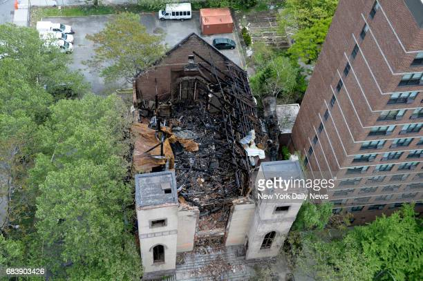 The burnedout interior of Beth Hamedrash Hagodol synagogue at 60 Norfolk Street in the Lower east Side on Monday May 15 a day after a fire ravaged...