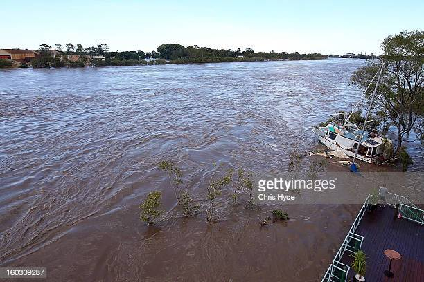 The Burnett River rises as parts of southern Queensland experiences record flooding in the wake of Tropical Cyclone Oswald on January 29 2013 in...