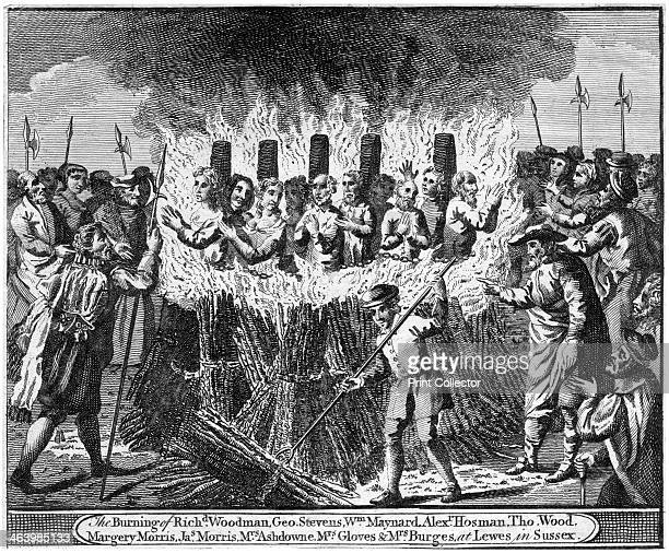 The Burning of ten protestant martyrs Lewes Sussex 1557 Seventeen Protestant martyrs were burned at the stake between 1555 and 1557 during the...