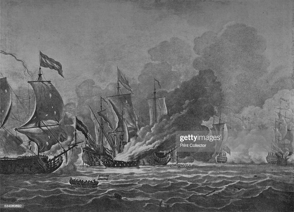 The Burning of the Royal James' from 'Old Naval Prints' by Charles N Robinson Geoffrey Holme 1924 HMS 'Royal James' was destroyed by fire and sank...