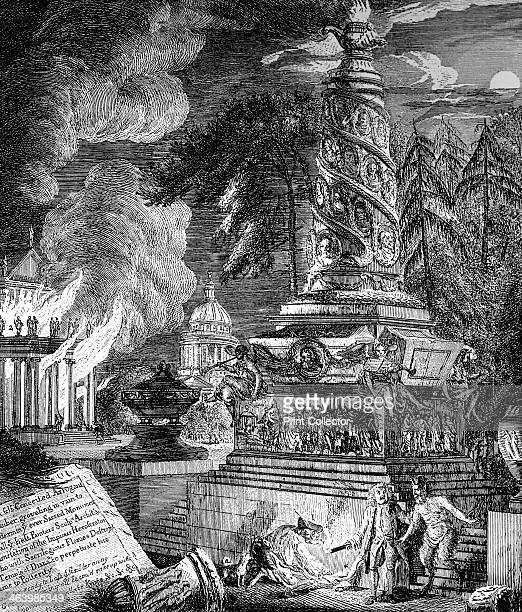 'The burning of the Temple at Ephesus' 1753 The Temple of Artemis at Ephesus was destroyed in 356 BC in an act of arson Illustration from Social...