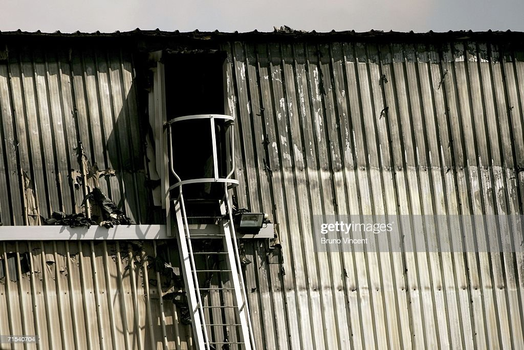 The burnt and charred outsides of the 007 James Bond soundstage at Pinewood studios on July 30, 2006 in Bukinghamshire, England. Eight fire engines tackled a blaze at the renowned film studios at the set of the new James Bond film 'Casino Royale' where filming has recently ended, which reportedly housed a replica of Venice.