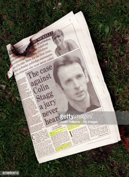 The burnt copy of today's Mail on Sundaylies on the grass outside the southwest London home of Colin Stagg Stagg set the paper alight after he was...