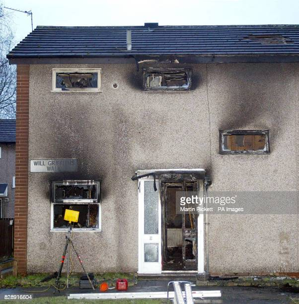 The burnt out house in Will Griffiths Walk Beswick Manchester where a fire killed three young children and an adult The four bodies were discovered...
