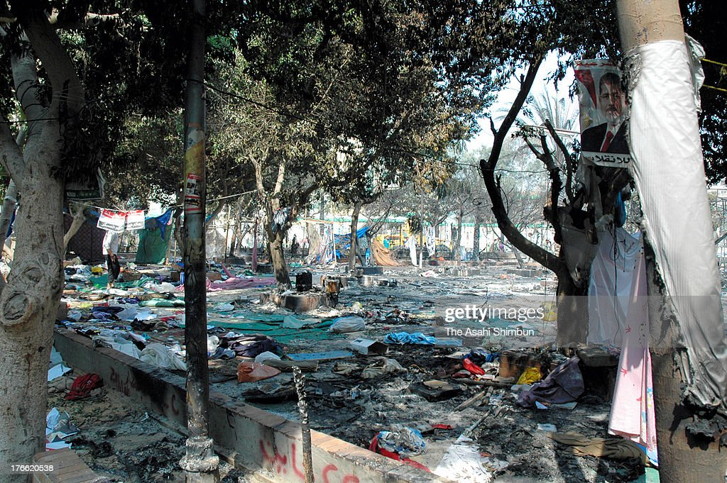 The burntout grounds of the Rabaa alAdaweya Mosque on August 15 2013 in Cairo Egypt An unknown number of proMorsi protesters were killed in Egypt's...