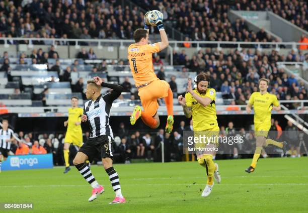 The Burton keeper Jon McGlaughin claims the ball during the Sky Bet Championship match between Newcastle United and Burton Albion at St James' Park...