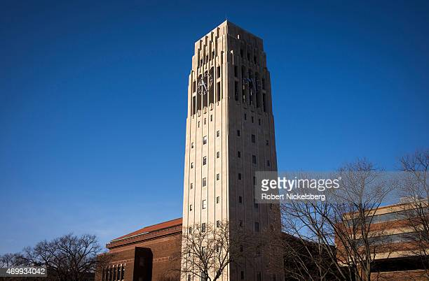 The Burton Memorial Tower stands on the central campus March 24 2015 at the University of Michigan in Ann Arbor Michigan Built in 1936 the 120' tower...